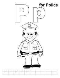 P Niin Kuin Poliisi Community Helper Alphabet Coloring Alphabet