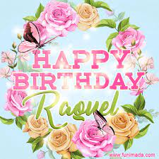 Beautiful Birthday Flowers Card for Raquel with Animated Butterflies —  Download on Funimada.com