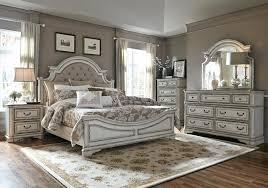Magnolia Manor Antique White Upholstered Panel Bedroom Set - La ...