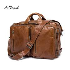 letrend vintage men genuine leather travel bag mens handbag multifunction shoulder bags luxury cabin luggage retro backpack travel bags