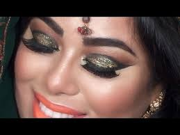indian bridal makeup tutorial green and gold glitter eyes