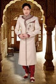 Groom Sherwani Latest Design Cream Indian Designer Wear Grooms Shervani In Brocade