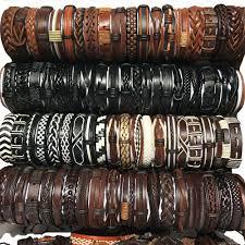details about party gift random 50pcs mix styles leather cuff bracelets men s women s jewelry