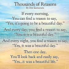Inspirational Quotes For A Beautiful Day Best Of Thousands Of Reasons Quote Beautiful Life Positive Life Quote
