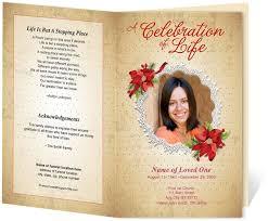 Memorial Pamphlet Template Floral Theme Carol Preprinted Title Letter Single Fold Program