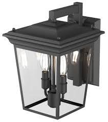dvi lighting dvp26071hb cl forest hill 2 light outdoor wall sconce in hammered black with clear glass