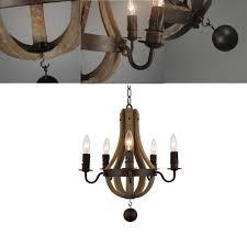 LE Vintage Amercian Rustic Wooden Pendant Light Fixtures Wine Barrel  Chandelier