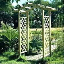 garden arch en arches wooden omega lattice arch for arbour elegance wooden arches