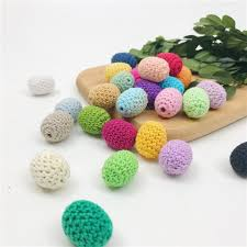 20pc 20 25mm mix color crochet wooden beads knitted bead diy teething nursing toy pacifier