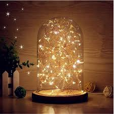 2019 glass dome night light bell jar display wooden base led warm white light bedside table lamp with warm fairy starry string lights from biaiju