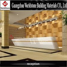 hotel reception counter design / pure white elegant lobby reception table