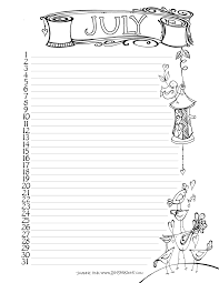 Free Printable July Calendar Page From