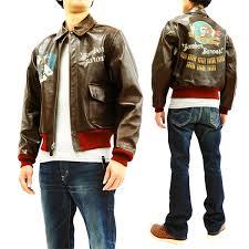 buzz rickson men s a 2 leather flight jacket painted nose art er br80509