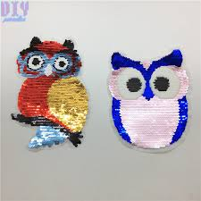 <b>Cartoon Owl</b> Reversible Sequins Sew On <b>Patches</b> for clothes Kids ...