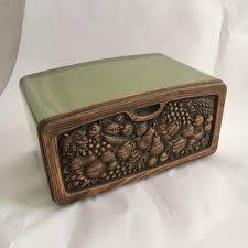 metal bread box vintage storage container faux wood fruit 60s 70
