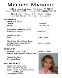 Child Actor Resume Format 5 Free Actor Resume Template