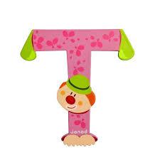 Wooden Letters Design Janod Wooden Letter T Clown Design Jack And Jill Kidswear