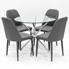 criss cross clear glass dining set with grey riversway dining chairs