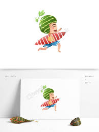 クールな手描きイラスト夏かわいいイラスト食べる少年サーフボードを抱え