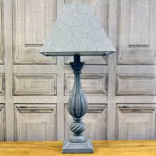 rustic wooden painted lamp base with linen shade
