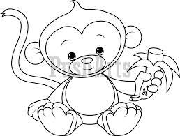 banana clipart black and white. baby monkey eating banana clipart black and white