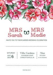 Lesbian Garden Wedding Invitation Templates By Canva