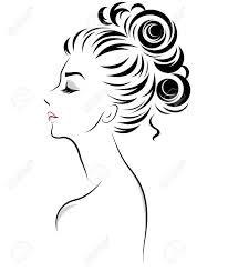 イラスト白地にロゴ女性女性お団子髪のスタイル アイコンのベクトルの