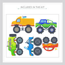 monster trucks printed wall decal monster truck wall decal kit