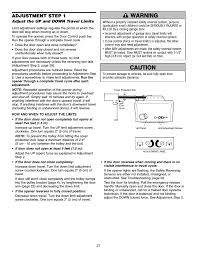 adjustment adjust the up and down travel limits warning caution warning warning chamberlain whisper drive 248739 user manual page 27 40