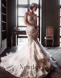 rhinestone wedding dress. Feathers Mermaid Rhinestones Wedding Dress Crystals Backless Beads