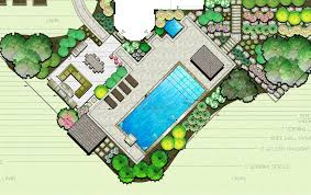 Front Yard Landscape Design Plans Free A Contemporary Landscape Plan With Pool On A 45 Degree