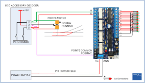 ppi5 dcc points position indicator Dcc Decoder Wiring Diagram in practice, connections to the ppi will normally be made at the accessor decoder, as shown, so that the wiring length can be kept to a minimum dcc decoder circuit diagram