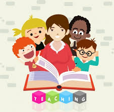 childhood education background kids open book colored cartoon education background female teacher ps open book icons