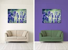 the before and after image from the tutorial on how to create wall art in photoshop with display your image as a mounted canvas in photoshop pt 2