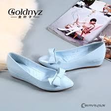 wedge shoes women white patent leather bow comfortable spring pointed toe flat pumps blue