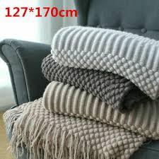 uk home bubble knitted blanket tassel