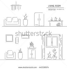 Living room and interior design elements - sofa, armchair, bookcase, table,  lamps
