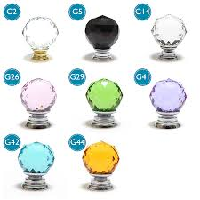 faceted crystal glass cupboard door knobs