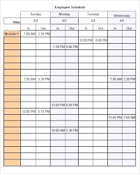 Sample Work Schedule For Employees Work Schedule Template Sample Dispatch Schedules Employee Work