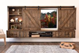Farmhouse Barn Door Entertainment Center Floating TV Stand  Spice Rustic Entertainment Center B14