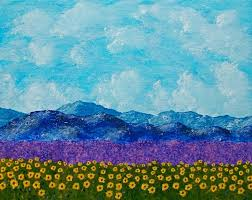 sunflowers and lavender in provence original acrylic painting 8 x 10 by mike kraus