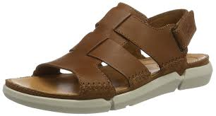 clarks men s trisand bay open toe sandals brown tan leather shoes