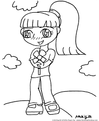 Small Picture Anime Coloring Pages Flower Girl Anime Coloring Page and Kids