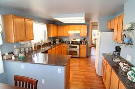 painted blue kitchen cabinets house: then we painted the walls behrs hazy sage and painted the range hood black kitchen progress