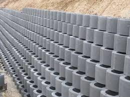 hollow concrete block for retaining