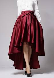 Red Pleated Sashes Bow <b>Swallowtail</b> High-low High Waisted Flared ...