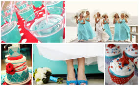 Red And Blue Wedding Reception Decorations Board Tiffany Blue And