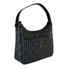 giani bernini leather black monogram hobo shoulder handbag front affordable designer brands