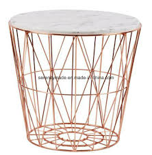 modern outdoor marble wooden tempered glass top steel wire round coffee table