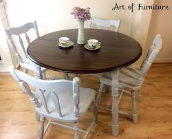 dining kitchen set of grey rustic carved oak round table with 4 country chairs hand painted upcycled
